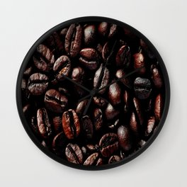 Dark Roasted Coffee Beans Wall Clock