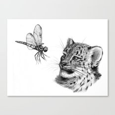 Snow leopard cub and dragonfy G148 Canvas Print