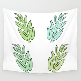 4 Jade Leaves Wall Tapestry