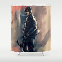 daryl dixon Shower Curtains featuring DARYL DIXON - THE WALKING DEAD by AkiMao