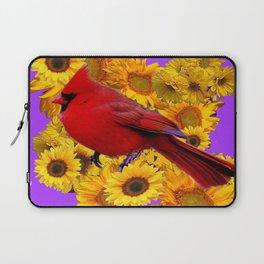 RED CARDINAL & YELLOW SUNFLOWERS PANTENE PURPLE Laptop Sleeve
