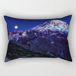 Mt Rainier Sunset and Full Moon 2017 Rectangular Pillow