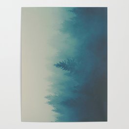 MIsty Turquoise Blue Pine Forest Foggy Parallax Tree Landscape Silhouette Poster