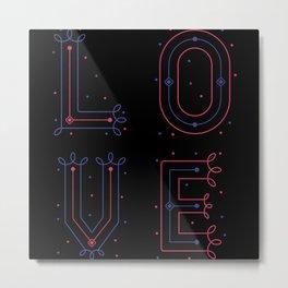L O V E love block letters monogram purple red Metal Print