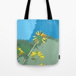 Flowers, black eyed susans, blue green yellow Tote Bag