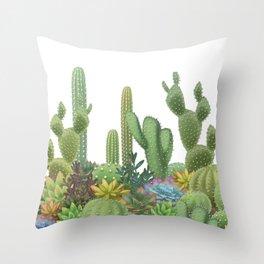 Milagritos Cacti on white background. Throw Pillow