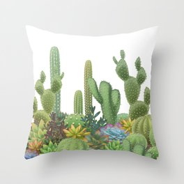 Milagritos Cacti on white background. Throw Pillow