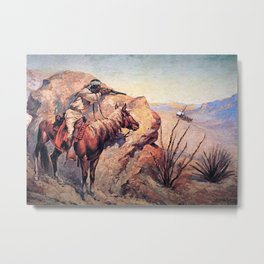 "Frederic Remington Western Art ""Apache Ambush"" Metal Print"