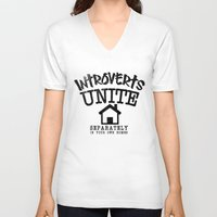 psychology V-neck T-shirts featuring Introverts Unite! by Rendra Sy