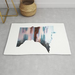 Minnesota Map Outline and the Mississippi River-Landscape Photography Rug