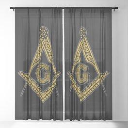 Freemason (Black & Gold) Sheer Curtain