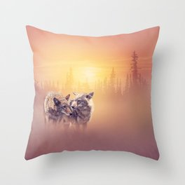 Two coyotes in the wilderness at sunset Throw Pillow