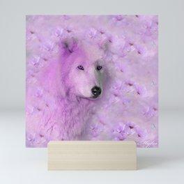PURPLE WOLF FLOWER SPARKLE Mini Art Print