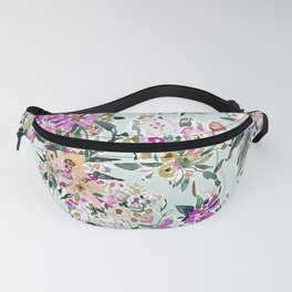 SWEPT AWAY Powder Blue Tropical Floral Fanny Pack