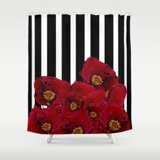 Poppy Stripes - Red Shower Curtain