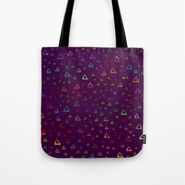 Watercolor rainbow colorful triangles on violet Tote Bag