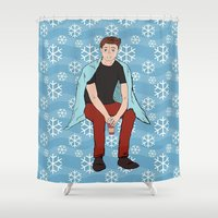 dean winchester Shower Curtains featuring Winter Dean Winchester by HarvestMoon