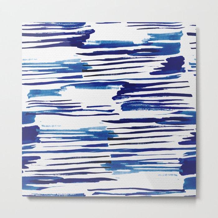 Shibori Paint Vivid Indigo Blue and White Metal Print