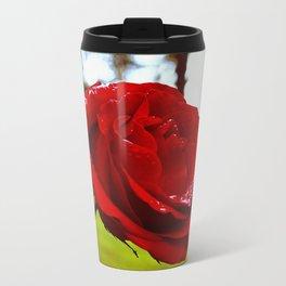 Single red rose Metal Travel Mug
