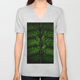 Close Up Of A Green Fern Leaf Intricate Patterns In Nature Against A Black Background Unisex V-Neck