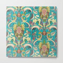 boho rococo turquoise Metal Print