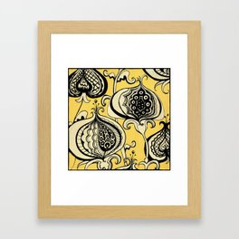 Black and Yellow Floral Framed Art Print