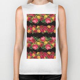 Vertical Rose Floral Garlands in Black Biker Tank
