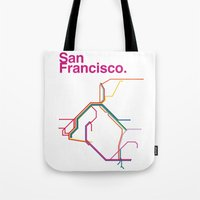san francisco map Tote Bags featuring San Francisco Transit Map by Ariel Wilson