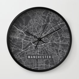 Manchester Map, England - Gray Wall Clock