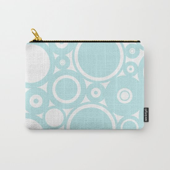 Blue dots and circles - abstract patterns - aqua Carry-All Pouch