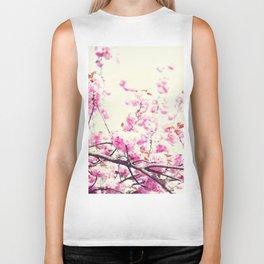 Pink cherry blossoms over white Biker Tank