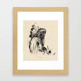 Old Cheyenne Warrior Framed Art Print