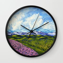 Sunflowers and Lavender In Provence France by Mike Kraus - art french blue green europe beautiful Wall Clock