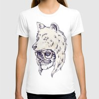 hat T-shirts featuring WOLF HAT by Mike Koubou