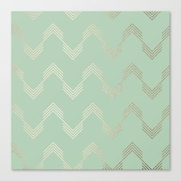 Simply Deconstructed Chevron in White Gold Sands and Pastel Cactus Green Canvas Print