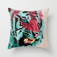 tiger Throw Pillows featuring Tiger by Roland Banrevi
