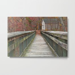 Rustic Autumn Boardwalk Metal Print