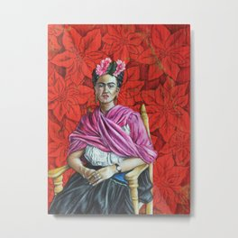 Frida Kahlo with Poinsettias Metal Print