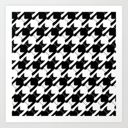 cats-tooth in black and white (houndstooth pattern) Art Print