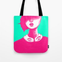contemporary Tote Bags featuring Contemporary Collar by Ben Geiger