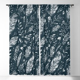 Feathers And Leaves Abstract Pattern Black And White Blackout Curtain