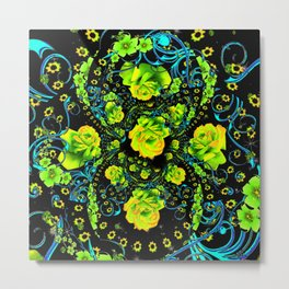 YELLOW ROSE & BLUE RIBBONS ON BLACK ART Metal Print