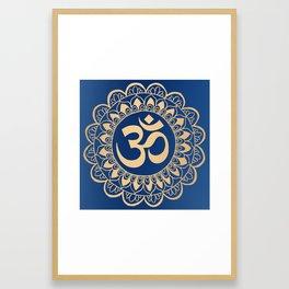 Blue and Gold Ohm Mandala Framed Art Print