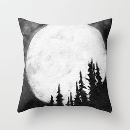 Full Moon & Trees Throw Pillow