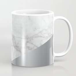White Marble Black Granite & Silver #230 Coffee Mug