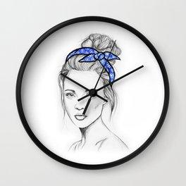 Girl in Blue Wall Clock