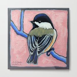 Chickadee in the Pink Metal Print