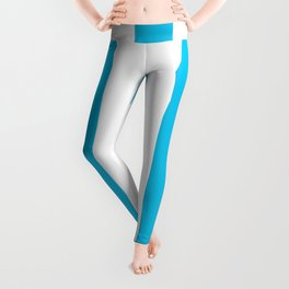 Blue raspberry - solid color - white vertical lines pattern Leggings