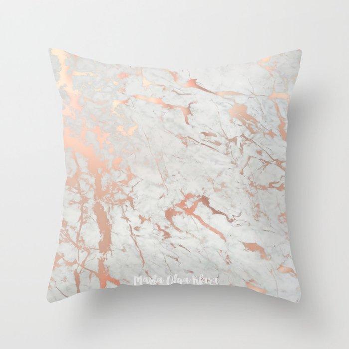 Rose Gold Marble Throw Pillow By Martaolgaklara Society6