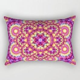 Rainbow Matrix Mandala Rectangular Pillow